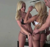 Two super hot blonde trannies getting fucked by…