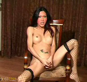 Sexy fishnet wearing ladyboy gets hard for you
