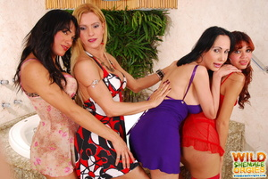 Four horny shemales have hot tub orgy - XXX Dessert - Picture 3