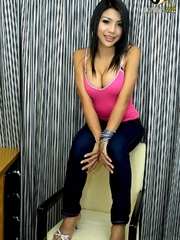 Teenie ladyboy with big tits jerks off and - XXX Dessert - Picture 3