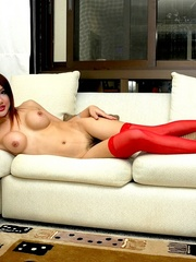 Ladyboy clad in red gets hard and - XXX Dessert - Picture 11