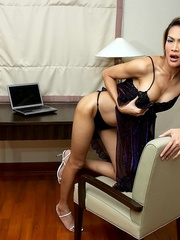Tan Asian ladyboy shoots a load from his - XXX Dessert - Picture 2