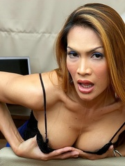 Tan Asian ladyboy shoots a load from his - XXX Dessert - Picture 4