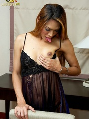 Tan Asian ladyboy shoots a load from his - XXX Dessert - Picture 5