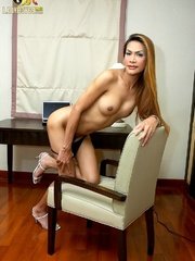 Tan Asian ladyboy shoots a load from his - XXX Dessert - Picture 9