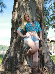 Country Girl Shemale with cowsized tits - XXX Dessert - Picture 1