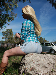 Country Girl Shemale with cowsized tits - XXX Dessert - Picture 2