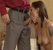Yummy tits brunette slave forced to give a hed to…
