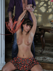 Tied up nice boobied brunette slave girl gets her - Picture 2