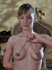 Perverted babe abusing her tits with hot wax and stuffed - Picture 2