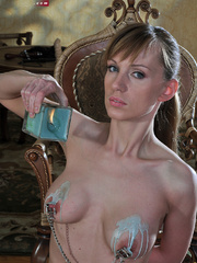Perverted babe abusing her tits with hot wax and stuffed - Picture 3