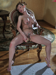 Perverted babe abusing her tits with hot wax and stuffed - Picture 13