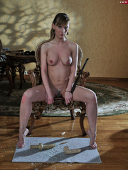Perverted babe abusing her tits with hot wax and stuffed - Picture 14