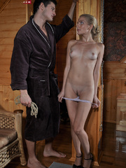 Little blonde enslaved hottie taking rough punishment - Picture 1