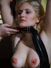 Lusty blonde slave gets her pussy whipped while riding - Picture 4