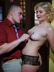 Lusty blonde slave gets her pussy whipped while riding - Picture 11