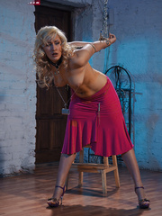 Blonde flexible slave with yummy boobs gets her nipples - Picture 4