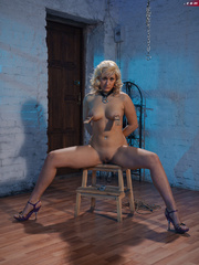 Blonde flexible slave with yummy boobs gets her nipples - Picture 6