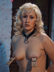 Blonde flexible slave with yummy boobs gets her nipples - Picture 7