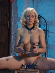 Blonde flexible slave with yummy boobs gets her nipples - Picture 8
