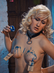 Blonde flexible slave with yummy boobs gets her nipples - Picture 9