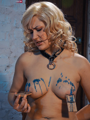 Blonde flexible slave with yummy boobs gets her nipples - Picture 10