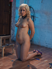 Blonde flexible slave with yummy boobs gets her nipples - Picture 13