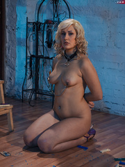 Blonde flexible slave with yummy boobs gets her nipples - Picture 14
