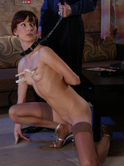 Slim brunette slave in sexy stockings used up and - Picture 2