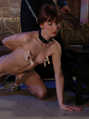 Slim brunette slave in sexy stockings used up and - Picture 3