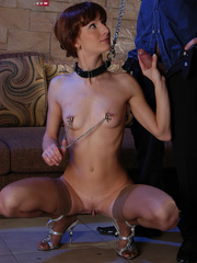Slim brunette slave in sexy stockings used up and - Picture 10