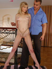 Pussy abused blonde slave girl gets her perfect breasts - Picture 1