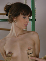 Bound petite ensalved cutie gets a mousetraps on her - Picture 1