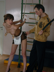 Bound petite ensalved cutie gets a mousetraps on her - Picture 4