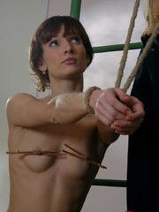 Bound petite ensalved cutie gets a mousetraps on her - Picture 12