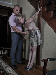 Tied up blonde slave with yummy tits completely - Picture 1
