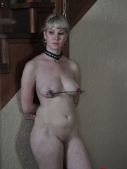 Tied up blonde slave with yummy tits completely - Picture 3