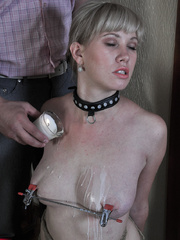 Tied up blonde slave with yummy tits completely - Picture 11