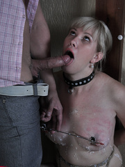 Tied up blonde slave with yummy tits completely - Picture 14