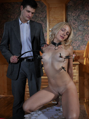 Submissive fuck slut riding her master's cock while her - Picture 8