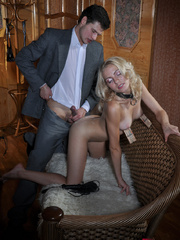 Submissive fuck slut riding her master's cock while her - Picture 14