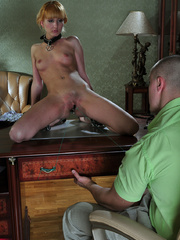 Whipped little slave chick gets her pussy tortured and - Picture 8