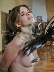 Helplessly bound slave hottie gets her body worked over - Picture 7