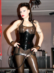 Sexy enslaved babes in tight latex outfit being - Picture 18