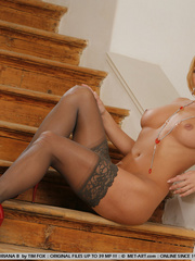 Playing on the stairs with panties at her - XXX Dessert - Picture 9
