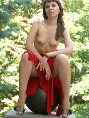 Fair skinned brunette gets frisky in a red - XXX Dessert - Picture 8
