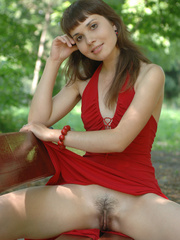 Fair skinned brunette gets frisky in a red - XXX Dessert - Picture 18