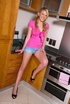 Danielle pink in her kitchen