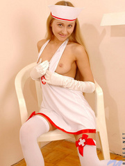 Juliette in nurse dress gets really - Sexy Women in Lingerie - Picture 2