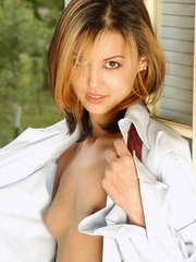 Cutie dresses up daddys dress shirt - Sexy Women in Lingerie - Picture 6